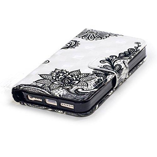 Leather Case Cover Custodia per iphone SE 5 5S ,COZY HUT Caso / copertura / telefono / involucro Modello retrò colorato del modello PU con a Bookstyle tasche carte di credito funzione con interno morb Fiore di Bauhinia