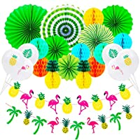Rorchio 33pcs Summer Party Decoration Set,Hanging Paper Fans Pineapple and Flamingo Flower Garland Banner 15pcs Latex Balloons for Hawaiian Luau Beach Tropical Party Supplies