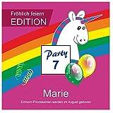 8 moderne Kindereinladungen mit Einhorn Regenbogen Geburtstag 7 8 9 10 11 12 mit Spruch - cool lustig Wunschtext ändern - Maxi 14,5 x 14,5 cm