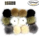 Dr Nezix DIY 12 stücke Faux Fuchspelz Flauschigen Pompom Ball mit Druckknopf/Druckknopf für Hüte Schuhe Schals Tasche Charms Zubehör (EK)