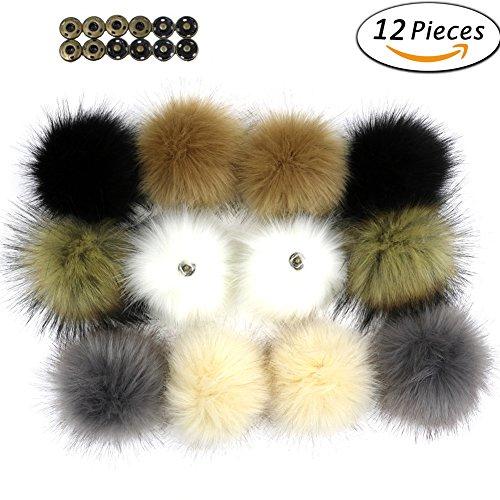 Dr Nezix DIY 12 stücke Faux Fuchspelz Flauschigen Pompom Ball mit Druckknopf / Druckknopf für Hüte Schuhe Schals Tasche Charms Zubehör (EK) (Bow Oversized)