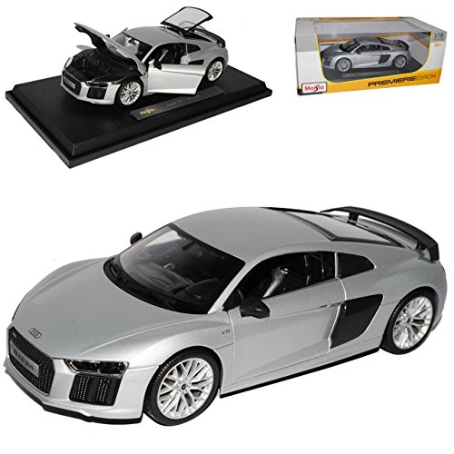 Maisto Audi R8 V10 Plus Coupe Silber neuestes Modell 2. Generation ab 2015 1/18 Modell Auto - R8 Coupés