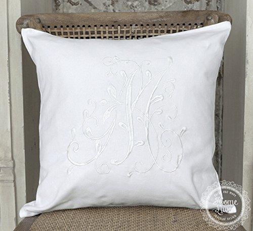 Skandinavisch Französisch Design Kissenhülle Kissenbezug 'Marie' 45 x 45 cm weiß mit aufgesticktem Monogram 100% Baumwolle Shabby Landhaus Vintage