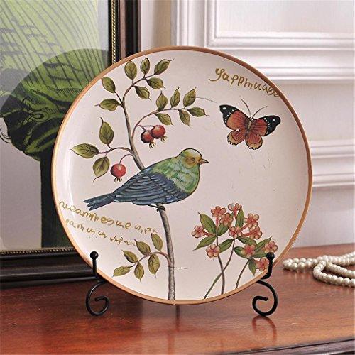 Rural pintado Disco estilo americano plato decorativo de cerámica para armario de...