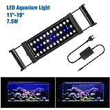 FTALGS Aquarium LED Aquarium Beleuchtung, Aquariumbeleuchtung Lampe Weiß Blau Licht mit Verstellbarer für Aquarium (40A=11