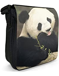 Panda Bear Small Black Canvas Shoulder Bag / Handbag