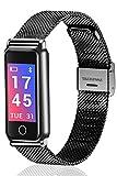 Loluka Unisex Fitness Tracker Digital Quarz Edelstahl Schwarz Bluetooth Schrittz?hler Kalorienverbrauch Herzfrequenz Blutdruck