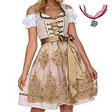 Jodimitty Tracht Kleid Damen Dirndl für Oktoberfest Traditionall Kostüme Kurzarm Mini 3 TLG Trachtenkleid mit Trachtenkette (34, Gelb)