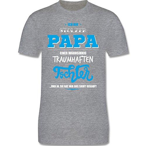 Vatertag - Ich bin stolzer Papa einer wahnsinnig traumhaften Tochter - Herren Premium T-Shirt Grau Meliert