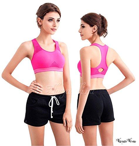 Naya Nina Nahtloser Fitness Sport BH Sporttop mit Ringerrücken und herausnehmbaren Polstern ohne Bügel Pink mit weissem Abschluss