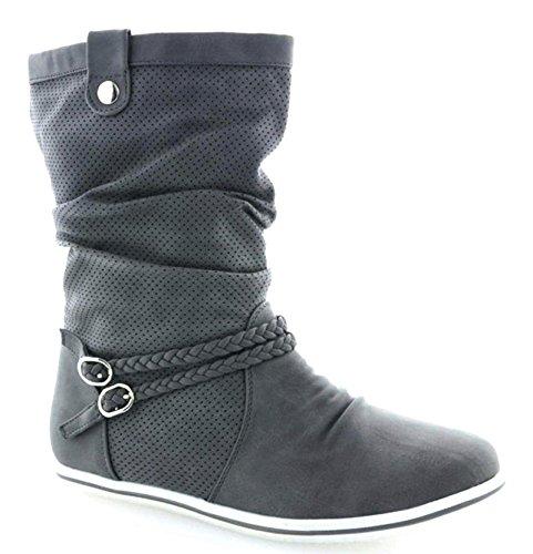 Damen Stiefeletten Stiefel Boots Flache Schlupfstiefel Schuhe (39, Grau)