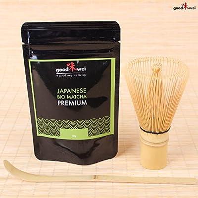 Poudre de Thé vert Matcha japonais de l'agriculture biologique + Fouet à Matcha en bambou + Cuillière en bambou