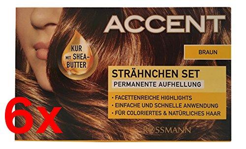 6x Haarfarbe Strähnen Set Accent Permanente Aufhellung Komplett-Set - BRAUN -