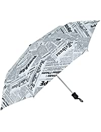 Popy Newspaper Printed Nylon 3 Fold Extra Wide 545mm White Umbrella