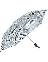 Popy Newspaper Printed Nylon 3 Fold Extra Wide 545mm White Umbrella