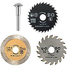 JTENG 3pcs discos de corte 54.8mm Mini discos HSS Sierra circular para herramientas rotativas de metal y Dremel Apto para madera, plástico, fibra de vidrio, cobre, aluminio y láminas delgadas