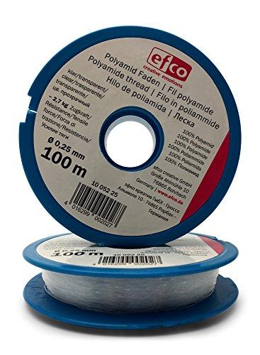 2 mal Starker EFCO Perlonfaden - der Schmuckfaden ist transparent mit hoher Zugkraft - Die gesamten 100m sind geschmeidig und reißfest in ausgezeichneter Qualität – inkl. Bastel eBook (2 x 0,25mm) Nähmaschine Mit Trimmer