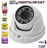 BW - cámara de seguridad BWNRH CCTV SONY IMX138 1000TVL HD, día y noche, lente de 3,6 mm, resistente a la intemperie, con OSD, con función IR-CUT, uso en interior o exterior, blanco
