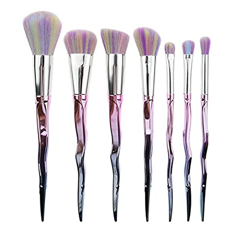 Frola–Pro 7pcs Cheveux doux Rainbow Lot de pinceaux de maquillage, poudre Fond de teint Blush Fard à paupière blending Contour kit de pinceaux Mb162