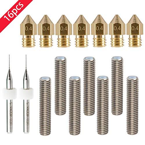 RUNCCI 7pcs 30 mm Longitud extrusor 1,75 mm Tubo y 7pcs Boquilla Extrusora de Impresión (0.4 mm latón, para impresoras 3d MK8 Makerbot Reprap (Bonus: 2 piezas brocas de limpieza)