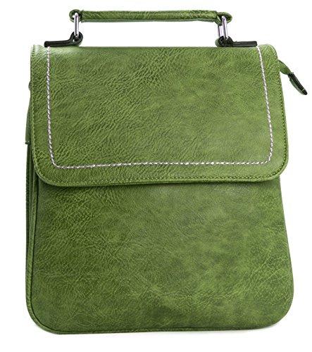 Big Handbag Shop kleine Damen Ranzentasche mit Obergriff unf mehreren Reißverschlusstaschen Verde (Verde oliva)