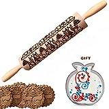 GESCHOK Nudelholz Mit Muster, Weihnachts-Holz prägestempel mit graviertem Weihnachtshirschmuster, Küchenwerkzeug zum Backen von geprägten Keksen (13,8