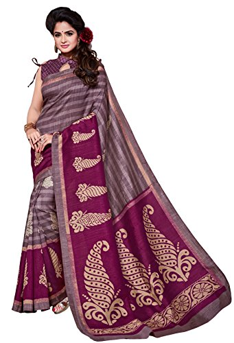 Classic Enterprise Sarees Daily Wear Stripe & Geometric Print Multi-Color Cotton Sari With Blouse (Malgudi-4350)