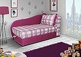 mb-moebel Kleines Couch Sofa mit Schlaffunktion Couch mit Bettkästen Rosa Kappa (Rosa)