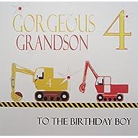 WHITE COTTON CARDS Gorgeous Grandson 4 Boy, Handmade 4th Birthday Card (Diggers)