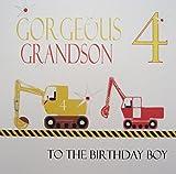 """White Cotton Cards """"Material Nieto 4 y Bandera de Reino Unido cumpleaños de niño, excavadores Hecho a Mano 4th cumpleaños con Texto en inglés"""