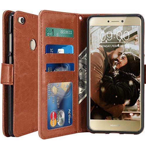 Huawei P8 Lite 2017 Hülle, LK Luxus PU Leder Brieftasche Flip Case Cover Schütz Hülle Abdeckung Ledertasche für Huawei P8 Lite 2017 (Braun)