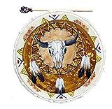 Indianer Trommel Schamanentrommel handbemalt UNIKAT Top Verarbeitung 50 cm. Durchmesser Rahmentrommel Büffelschädel SKULL