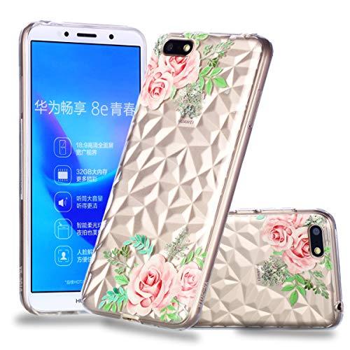 Artfeel Ultra Mince Souple Clair Coque pour Huawei Y5 2018,Étui en Relief Rose Fleur Géométrique Motif, Flexible TPU Silicone Arrière Housse Couverture de Protection