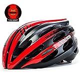 KING BIKE Fahrradhelm Herren Damen Erwachsene Rennrad Sicherheit Hinten mit Licht Einstellbare Größe(Schwarz Rot)