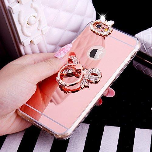 iPhone 7/8 Plus Coque, iPhone 7/8 Plus TPU Coque,iPhone 7/8 Plus Double Faces Corps entier Silicone Housse,ETSUE Coque Silicone Gel Créativité Transparent 360 Degré Avant et arrière Ultra-mince Full C Papillon Or Rose