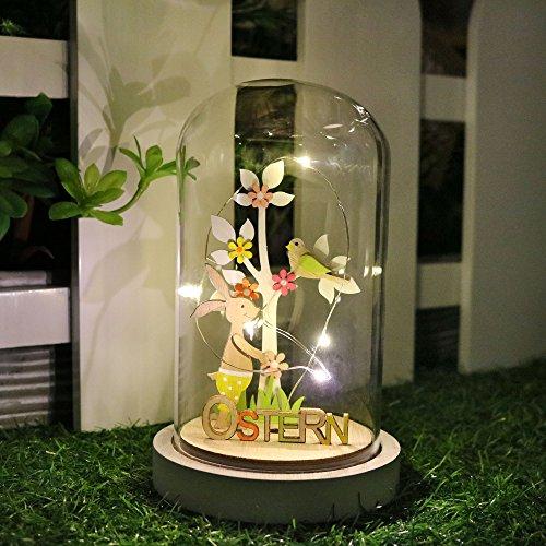 Valery Madelyn 20cm beleuchtet Glaskuppel mit Holzfuß Ostern Dekoration, Kaninchen und Baum Muster Innen, 5 LED-Leuchten, OSTERN Zeichen