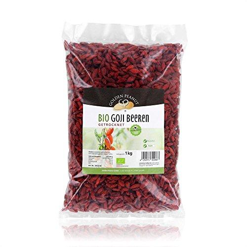 Bio Goji Beeren 1 kg Beutel PREMIUM Qualität aus Ningxia, 280 Beeren per 50 g, sonnengetrocknet, ungeschwefelt, auf Pestizde getestet