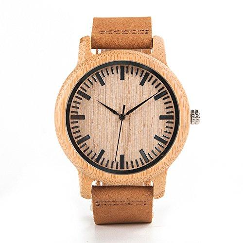 Kim Johanson Herren Bambus-Holz Armbanduhr *Beach* in Braun mit Echtem Lederarmband Handgefertigt Quarz Analog Uhr inkl. Geschenkbox