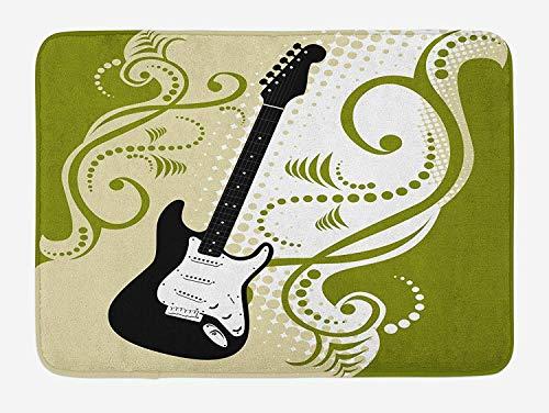 JIEKEIO Music Bath Mat, Electric Bass Guitar Figure with Swirls Background Artful Illustration, Plush Bathroom Decor Mat with Non Slip Backing, 23.6 W X 15.7 W Inches, Olive Green White Black -