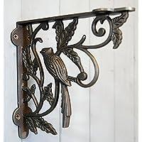 Tradizionale staffa riccamente decorata in ferro - Per Cesto sospeso, staffa per mensola decorativa, motivo: uccelli