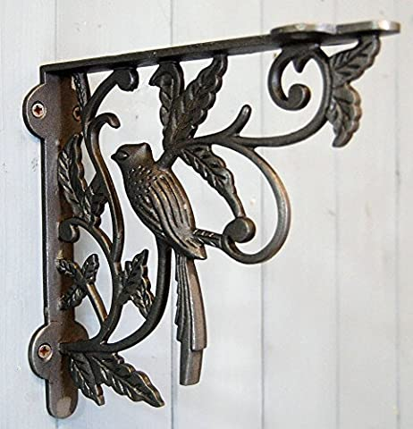 Traditional ornate iron hanging basket & shelf bracket decorative single bird design