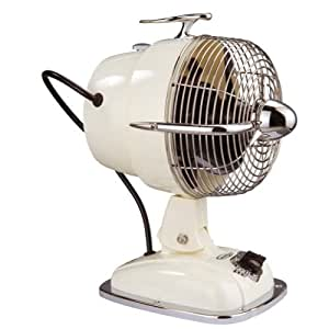 HARTIG + HELLING - Ventilateur Design Retro - 3 Vitesses - Couleur Creme et Chrome