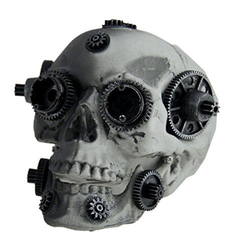 Gear Head zweifarbig schwarz und grau Steampunk Totenkopf Statue, plastik, grau, Einheitsgröße (Halloween-dekoration Mechanische)