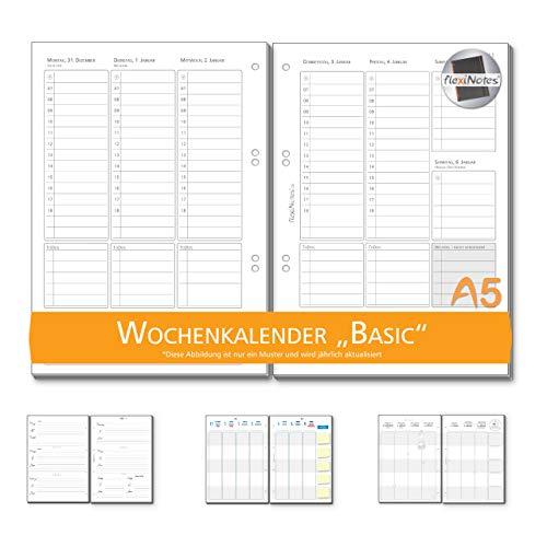flexiNotes WOCHENKALENDER 2019 A5, Kalendereinlage: Basic, 1 Woche 2 Seiten