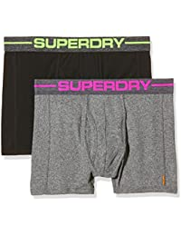 Superdry Sport Boxer Double Pack Boxer Shorts In Grey/Pink & Black/Green