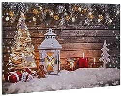 matches21 Bild Wandbild mit 3 flackernden LEDs Keilrahmen Weihnachtsmotiv mit Laterne Deko & Schnee Bedruckt 60x40 cm
