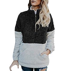 Festiday Sweatshirts For Girls Clearance Sale 2018 New Casual Girls' Activewear Fashion Women Velvet Long Sleeve Zipper Turtleneck Pockets Tops Sweater Blouse