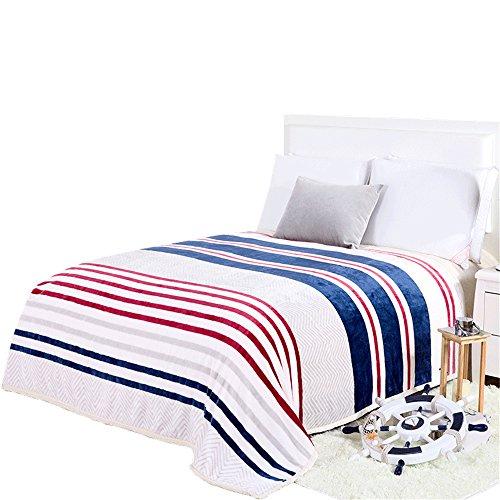 Preisvergleich Produktbild HJHET Flanell Decke verdickte Coral samt Decke Leinen winter gestreift Handtuch Steppdecke decke Klimaanlage Decke,  120 * 200 cm