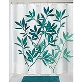 InterDesign Leaves Duschvorhang | Designer Duschvorhang in der Größe 183,0 cm x 183,0 cm | schickes Duschvorhang Motiv mit Blättern | Polyester petrol