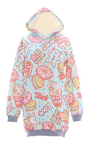 T-521 Popcorn Donut Mint grün bunt Candy Sweet Pastel Goth Lolita Pullover Sweatshirt Harajuku Japan Fashion Kawaii-Story (Goth Fashion)